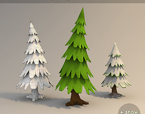 Lowpoly fir trees pack and snow version 3D model
