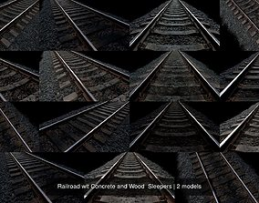 Railroad wit Concrete and Wood Sleepers 3D