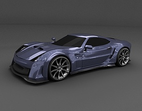 3D model Blue racing concept car