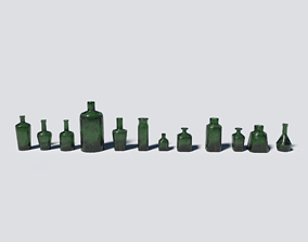 Small Bottles Green 3D model
