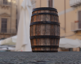 Wooden barrel outdoor 3D asset low-poly