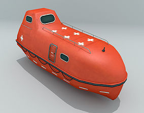 3D asset VR / AR ready Enclosed Lifeboat