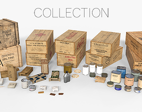 WWII Combat Rations Collection 3D model