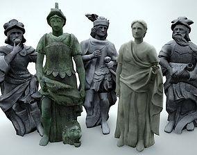 3D asset low-poly Statues Pack Vol 1