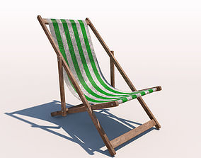3D model Deck Chair - Green - Weathered