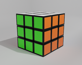 3D asset Rubiks cube 3 by 3