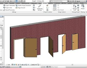 SINGLE DOOR REVIT FAMILY 3D ROTATED AND FULL