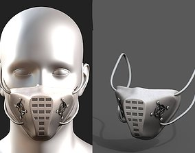 Gas mask respirator white plastic protection 3D asset