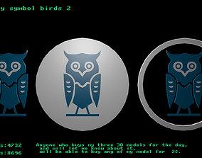 3D asset game-ready Low poly symbol birds 2