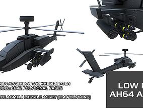 3D model Low Poly AH64 Apache