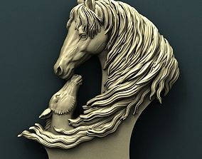 Twin horse 3d stl model for cnc