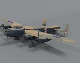 3D asset Low Poly Cartoon Avro Lancaster WWII Airplane