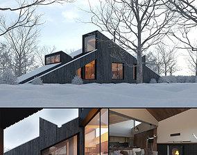 Winter Cabin House 3D