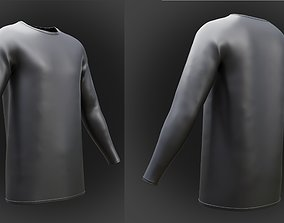 3D Roundneck leather shirt - Male sleeve shirt