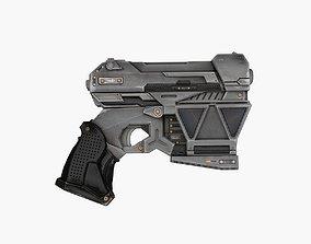 White Sci-Fi Pistol 3D model