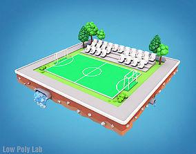 3D asset Cartoon Football Field