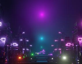 3D asset low-poly Cyberpunk Sci-Fi City