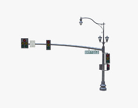 3D model Street Light With Traffic Light 05