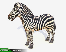 animated Lowpoly Zebra Animated 3D model