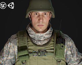 3D model animated Male Soldier