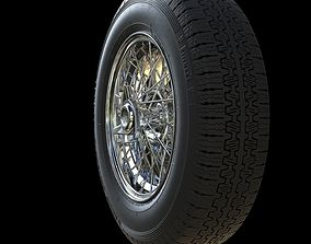 Highpoly Borrani wire wheel with Pirelli tire 3D model