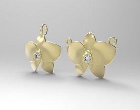 Floral Orchid Pendant 3D printable model silver