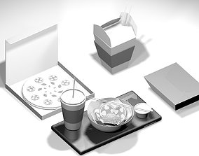 3D Food in ISO view for apps realtime