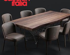 3D model Cattelan Italia Gordon Deep Wood Table Magda