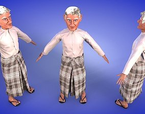 3D asset Grandpa with Traditional Costume