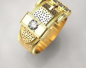 Belt ring with diamonds 3D printable model