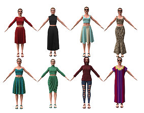 collection 8 realistic woman clothing 3D