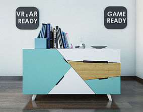 3D asset realtime Chest Of Drawer 2 VR AR Game Ready