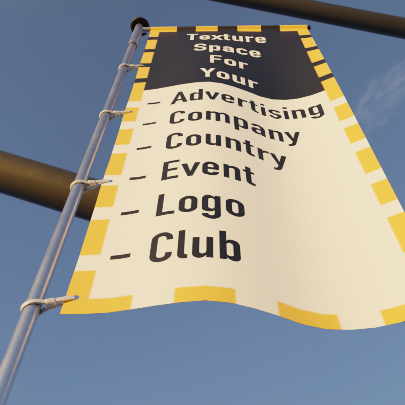 Animated Flag with Pole -1- High-Poly Version