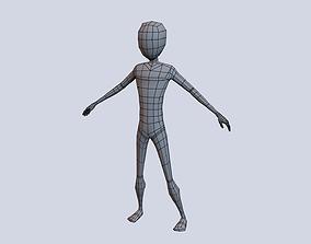 Low Poly Cartoon Male Basemesh 3D asset rigged