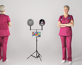 Adult surgical nurse in red uniform 3D asset