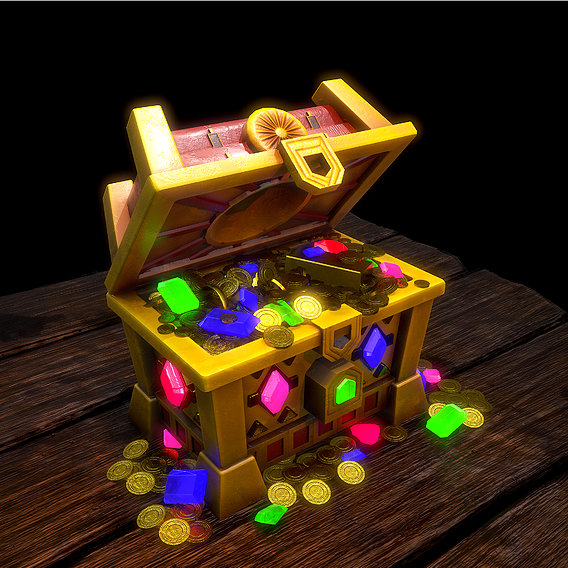Treasure chest Low-poly 3D model