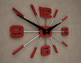 3D model Red and White 4 Digits Wall Clock 10