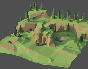 3D model VR / AR ready Landscape Forest