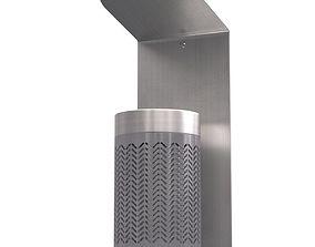 3D Zigzag wall mounted gray ashtray