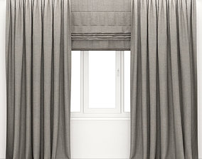 brown 3D model Brown curtains and roman blinds