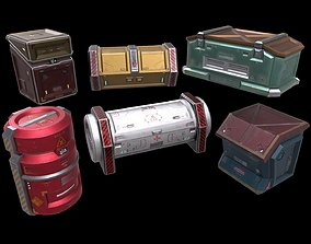 6 Models Scifi Crate Pack Openable 3D asset