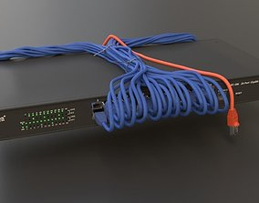 3D Network Switch Rack with connected cables