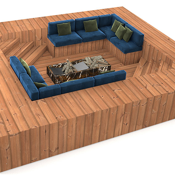 seating area for overflow swimming pool 3D model