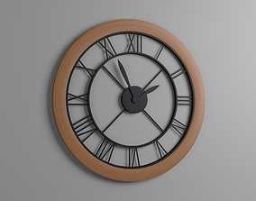 The Wall Clock With Roman Numerals By Black 3D model 2
