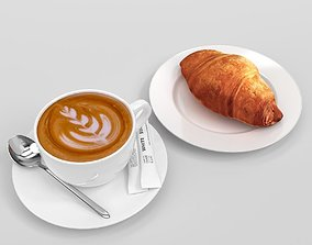 Verona Cappuccino Coffee Cup with croissant set Blender 3D