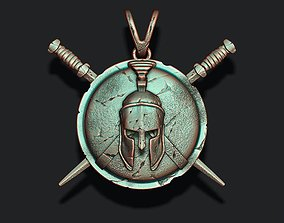 Spartan Helmet Shield Sword pendant 3D print model