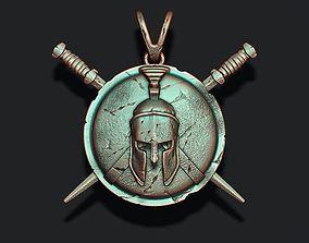Spartan Helmet Shield Sword pendant 3D printable model