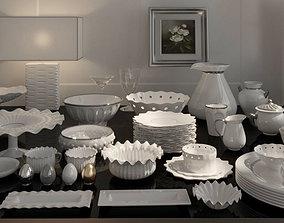 Luxurious Porcelain set dinnerware dishware plate 3D