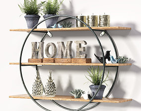 Round metal frame shelf with Decorative set 3D model