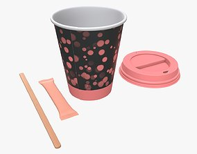 3D Paper coffee cup plastic lid sugar package wooden stick
